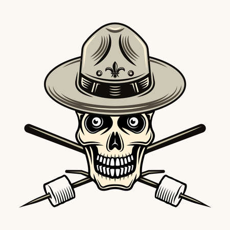Skull of boy scout in hat and two crossed marshmallow on stick vector colorful illustration