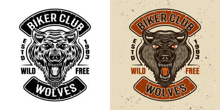 Wolves biker club vector emblem, badge or patch in two styles black and white and colored 向量圖像