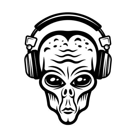 Alien head in headphones vector illustration in vintage monochrome style isolated on white background Zdjęcie Seryjne - 154455007