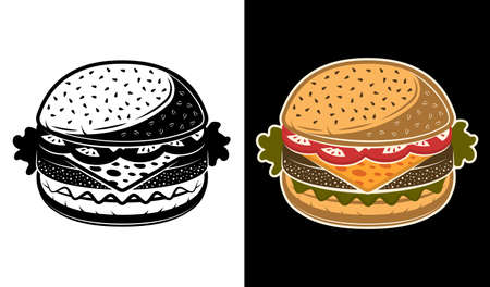 Burger vector illustration in two styles black on white and colored on dark background Zdjęcie Seryjne - 154455006