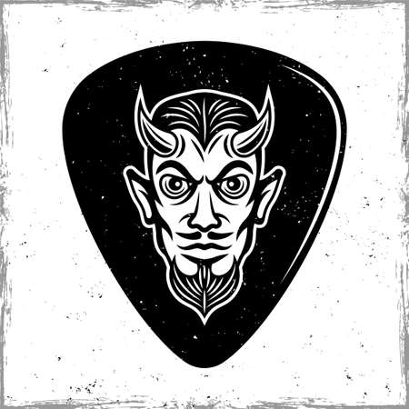 Guitar pick or mediator with horned devil head. Vector design template isolated on background with removable textures 向量圖像