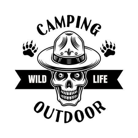 Camping and outdoor adventure vector emblem, badge, label or logo with skull of boy scout in hat. Illustration in vintage monochrome style isolated on white background