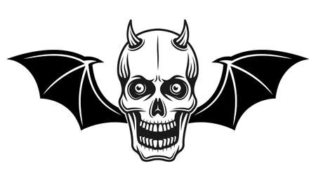 Horned devil skull with bat wings vector illustration in monochrome tattoo style isolated on white background Ilustracja