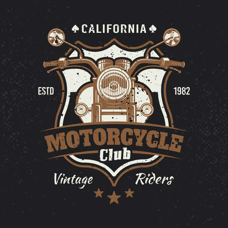 Motorcycle colored vintage emblem or t-shirt print on dark background. Vector illustration with removable grunge textures