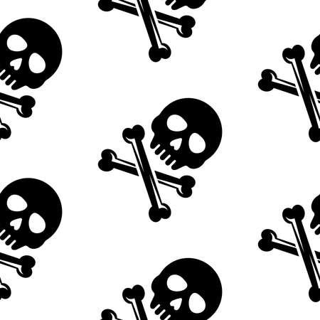 Skull and bones vector black seamless pattern on white background for apparel design Zdjęcie Seryjne - 154455018
