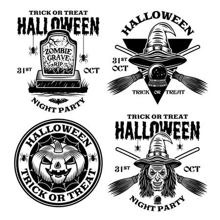 Halloween set of four vector emblems, labels, badges or logos in vintage monochrome style isolated on white background Ilustracja