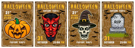 Halloween set of four vector invitation posters in colorful style. Grave, pumpkin, devil, skull of witch