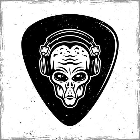Guitar pick or mediator with alien head in headphones. Vector design template isolated on background with removable textures