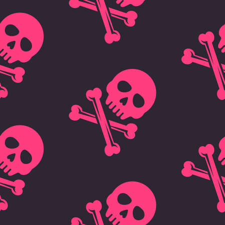 Pink skull and bones vector seamless pattern on dark background for apparel design and decoration other things