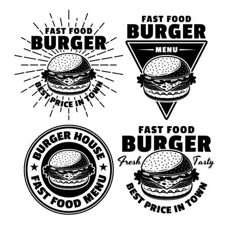 Burger fast food menu set of four black vector emblems, badges, stickers or logos in vintage style isolated on white background Ilustracja