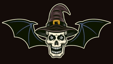 Witch skull with bat wings vector colored cartoon style illustration isolated on dark background