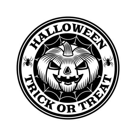 Halloween vintage round emblem with pumpkin in monochrome style vector isolated illustration