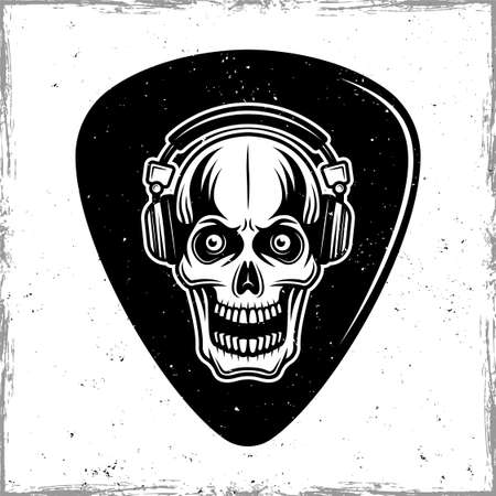 Guitar pick or mediator with horned skull in headphones. Vector design template isolated on background with removable textures