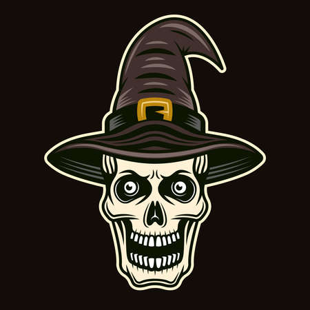 Skull of witch in hat character colorful vector illustration in cartoon style isolated on dark background