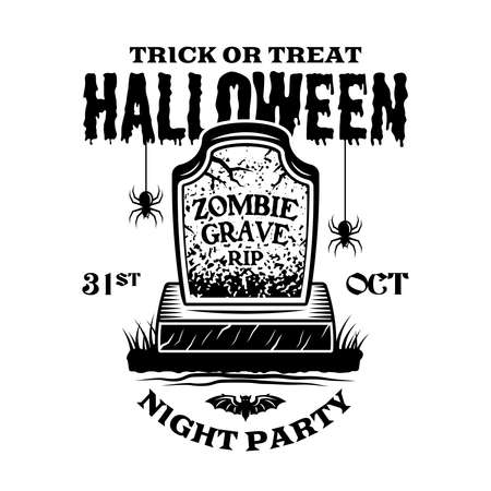 Halloween vintage emblem with zombie grave in monochrome style vector isolated illustration Ilustracja