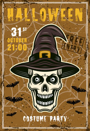 Halloween costume party vector invitation poster. Skull of witch in hat vintage illustration with grunge textures and sample text on separate layers