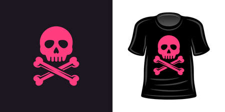 Pink skull and crossbones t-shirt print vector apparel design template Ilustracja