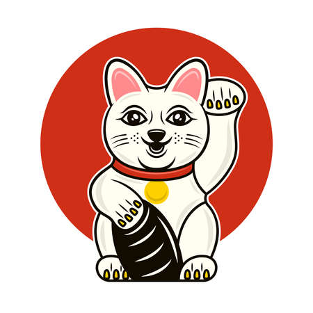 Maneki Neko traditional japanese lucky cat with beckoning paw vector illustration in cartoon colored style isolated on white background