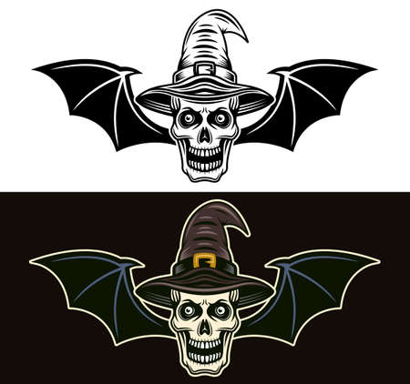 Skull of witch in hat with bat wings two styles black on white and colored on dark background vector illustration Zdjęcie Seryjne - 154455099