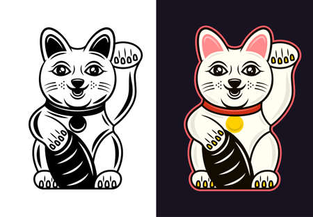Maneki Neko traditional japanese lucky cat with beckoning paw in two styles black on white and colored on dark background vector illustration Çizim