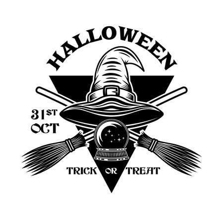 Halloween vintage emblem with witch hat and crossed brooms in monochrome style vector isolated illustration Zdjęcie Seryjne - 154455127