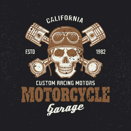 Motorcycle garage biker vintage emblem or t-shirt print with skull in helmet and two crossed pistons on dark background. Vector illustration with removable grunge textures