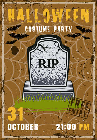 Halloween party vector invitation poster with zombie grave. Vintage illustration with grunge textures and sample text on separate layers Çizim