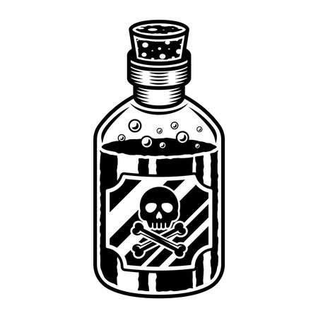 Bottle of poison vector object or design element in vintage monochrome style isolated on white background Çizim