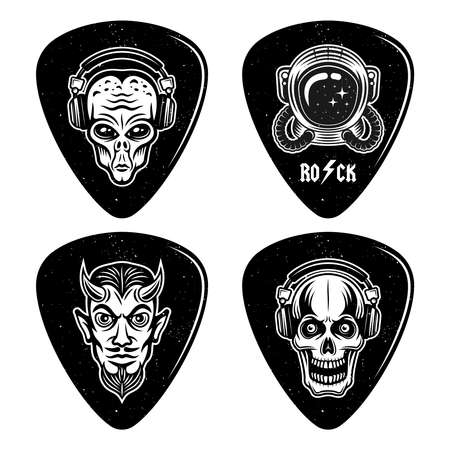 Set of four guitar picks or mediators in rock n roll style with different designs isolated on white background