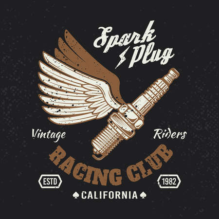 Flying spark plug with wings colored vintage motorcycle emblem or t-shirt print on dark background. Vector illustration with removable grunge textures Çizim