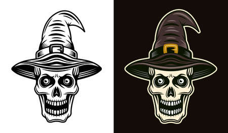 Skull in witch hat in two styles black on white and colorful on dark background vector illustration Çizim