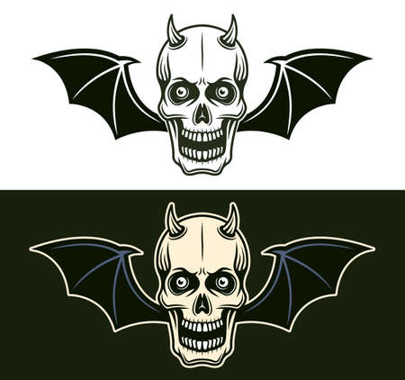 Horned devil skull with bat wings in two styles black on white and colorful on dark background vector illustration