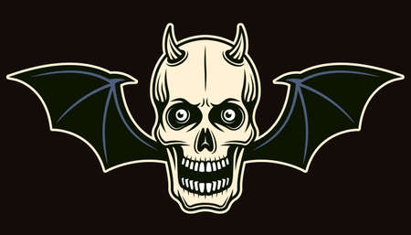 Horned devil skull with bat wings vector illustration in colored cartoon style isolated on dark background Zdjęcie Seryjne - 155478701