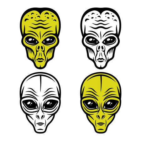 Alien heads set of vector objects or design elements isolated on white background
