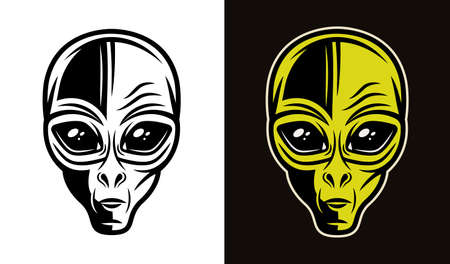 Alien head in two styles black on white and colorful on dark background vector illustration