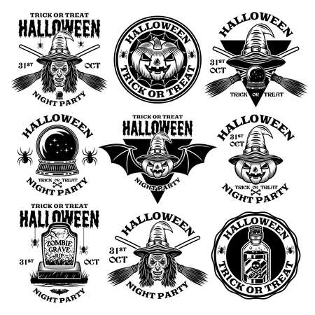 Halloween set of nine vector emblems, labels, badges or logos in vintage monochrome style isolated on white background