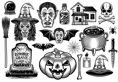 Halloween set of vector graphic objects or design element in vintage black and white style isolated on white background