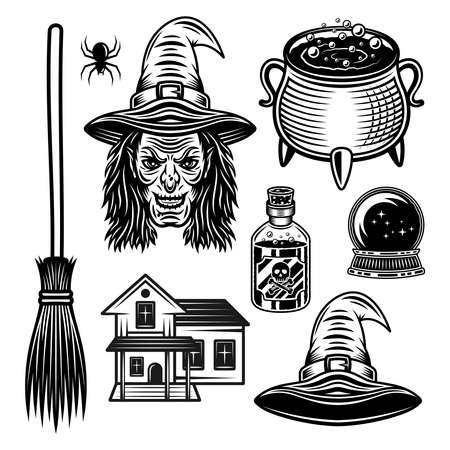 Witch and halloween set of vector graphic objects or design elements in vintage black style isolated on white background 向量圖像