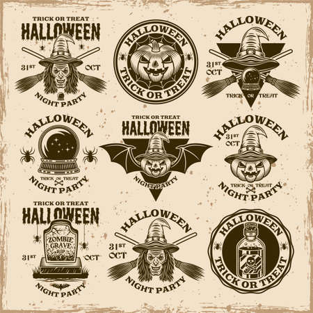 Halloween set of vector emblems, labels, badges or prints in vintage style on dirty background with stains and grunge textures