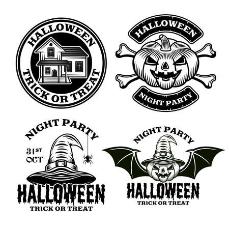 Halloween set of vector emblems, labels, badges or logos in vintage monochrome style isolated on white background Çizim