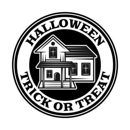 Halloween vintage round emblem, label, badge or logo with scary house in monochrome style vector isolated illustration Çizim