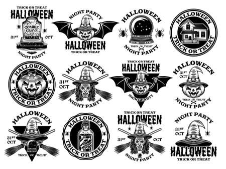 Halloween big set of vector emblems, labels, badges or logos in vintage monochrome style isolated on white background Çizim
