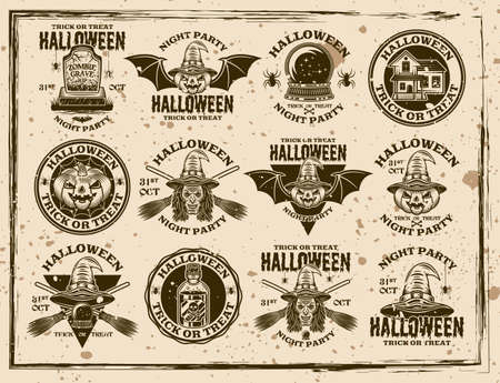 Halloween set of vector emblems, labels, badges or prints in vintage style on dirty background with removable stains and grunge textures