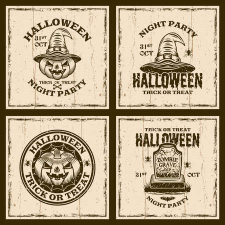 Set of halloween vector vintage emblems, labels, badges or t-shirt prints on background with grunge textures
