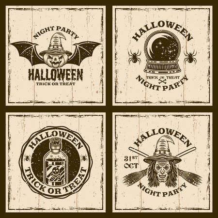 Set of halloween vector emblems, labels, badges or t-shirt prints in vintage style on background with grunge textures Zdjęcie Seryjne - 155786979