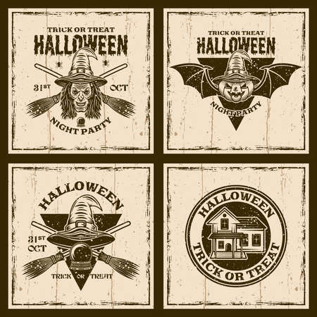 Halloween set of four vector brown emblems, labels, badges or t-shirt prints on background with grunge textures