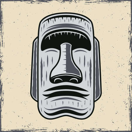 Stone face of easter island moai statue vector illustration in vintage style on white background with grunge textures