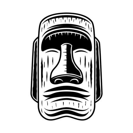 Moai stone face, easter island statue vector illustration in vintage monochrome style isolated on white background