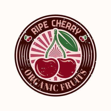 Cherry vector colorful round emblem, badge, label, sticker isolated on light background with removable grunge texture Çizim