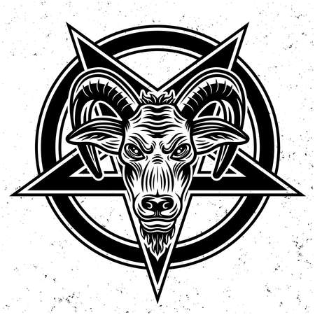 Goat head and pentagram star vector illustration in monochrome style isolated on white background